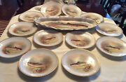 Set Of 13 Antique Hand Painted Limoges Fish Game Plate And Large Platter