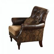 Ergode Chair W/1 Pillow 2-tone Brown Pu And Chenille