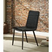 Ergode Side Chair Set-2 Black Top Grain Leather And Antique Black