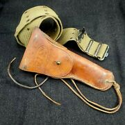 Vintage Wwii U.s. Military Pistol Holster Boyt - 44 - With Canvas Belt 38 In.