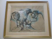 Vintage Card Players Poker Game Men Portrait Expressionist French Italian