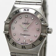Secondhand Omega Constellation Mini Pink Shell Dial 12p Diamond Womenand039s Watches
