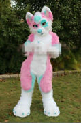 Christmas Pink Long Fur Fox Wolf Fursuit Mascot Costumes Blue Adult Outfit Dress