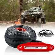 Uhmwpe Winch Rope Synthetic 1/2 92and039 22000lbs And Red Hawse Fairlead 10 Mount Utv