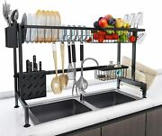 Over Sink Dish Drying Rack 2 Tier Stainless Steel Kitchen Shelf Multi Home Us