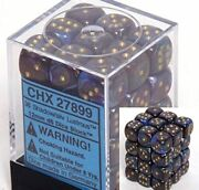 Chessex Dice D6 Sets Lustrous Shadow With Gold - 12mm Six Sided Die 36...
