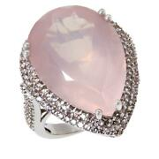 Colleen Lopez Sterling Silver Pear-cut Rose Quartz And White Zircon Ring Size 7