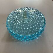 Fenton Blue Opalescent Hobnail Candy Box With Lid Rare Only Made For One Year