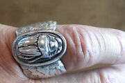 Rare Vintage Han Zup Sterling Silver Winged Scarab Ring Art Deco Egyptian Ring
