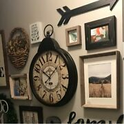 Large Farmhouse Wall Clock Antique Industrial London Style Round Metal Art Decor