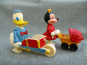 Vintage 1960s Marx Toy Donald Duck And Minnie Mouse Ramp Incline Walker