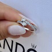 New Authentic Pandora Two Sparkling Hearts Ring 191023cz
