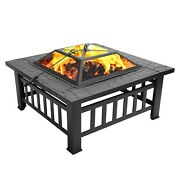 3in1 Fire Pit Bbq Grill Ice Pits Outdoor Patio Garden Heater Fireplace Burning