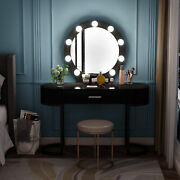Modern Vanity Dressing Table With Lighted Mirror Drawer And 2 Storage Cabinets