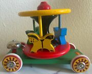 Vintage Wooden Brio Carousel Horse Merry Go Round Pull Toy Made In Sweden