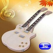 2 Pack Lp Unfinished Electric Guitar Diy Kit Set Mahogany Body And Neck W4z9