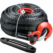 Winch Rope Synthetic Cable 1/2 92and039 22000lbs + Hook + Hawse Fairlead 10 Black