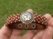 Female Bracelet Authentic 1888 Indian Head Penny Coin Cuff Bison Leather 6.5 Siz