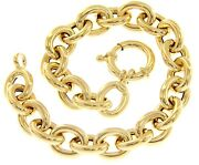 18k Yellow Gold Bracelet Tubular Oval Rolo Rounded 11x13mm Circle Link 20cm 7.9