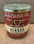 Vintage S S Pierce Co Red Label Ginger Spice Tin Paper Label Unopened Boston Ma