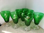 Eight Vintage Inspiration Green And Clear Goblets 1836 By Anchor Hocking