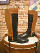 Isaac Mizrahi Black And Brown Leather Wide Calf Toby Riding Boots New