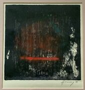 Vintage 90s Abstract Serigraph Print Wall Hanging Modern Art Signed Hennessy - 1