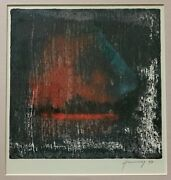 Vintage 90s Abstract Serigraph Print Wall Hanging Modern Art Signed Hennessy - 2