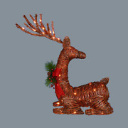 30 Lighted Rattan Reindeer W/ Red Bow And Pine Cones Christmas Outdoor Decoration
