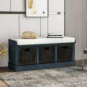 Rustic Storage Bench W/ Removable Rattan Baskets Entryway Storage Bench Us Stock