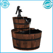 Classic Old Time Rustic 2 Tiers Outdoor Wooden Barrel Waterfall Fountain W/ Pump