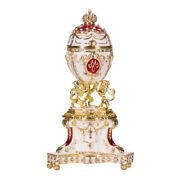 Faberge Royal Danish Egg Trinket Jewel Box With Lions And Imperial Crown 5.2and039and039 Red