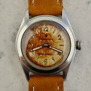 C.1945 Vintage Rolex Oyster Tropical Sector Dial Wwii Watch Ref.4361 In Steel