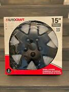New, Autocraft 15 Tuxedo Wheel Covers, Rust Resistant Finish, 4 Pack