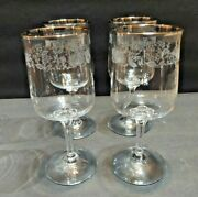 Lenox Crystal Water Goblets 4 Sliver Ring Edged Flowers / Tumblers 4 Total 8