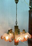 Vintage Lighting Mid Century Glass Vibrant Color Shade Chandelier 32 Wide