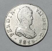 0.22oz 6.23g 1811 Sf 2 Reales Heavy Type Antique Spanish Silver Coin Cataluna Rr