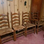 Antique Ladder Chairs Rush Seats Armchair Side Chair Wood Set Of 4