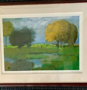 Serigraph Signed Numbered Golden Tree Landscape Clouds Chinese American