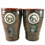 2 Service Dog Squeeze Mugs Pair Cup Studio Pottery Custom Canines Academy Brown