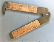 Vintage Lufkin Rule No. 171 6 Folding Boxwood And Brass Rule With Caliper