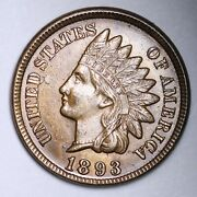 1893 Indian Head Cent Penny Choice Bu Uncirculated Ms Free Shipping E134 Xmw