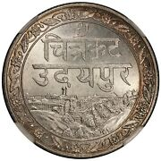 Vs1985 1928 India Mewar Rupee Silver Coin - Ngc Ms 64 - Y 22a - Km Pn9