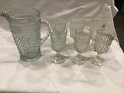 Anchor Hocking Wexford 64 Oz. Pitcher And 4 Water Goblets Glasses 6-5/8 Tall