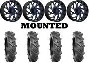 Kit 4 Bkt At 171 Tires 33x8-18 On Fuel Runner Blue D778 Wheels Can