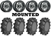 Kit 4 Ams Mud Evil Tires 32x10-14 On Fuel Anza Beadlock Gray D918 Wheels Can