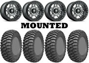 Kit 4 Ams M1 Evil Tires 28x10-14 On Fuel Anza Beadlock Gray D918 Wheels Can