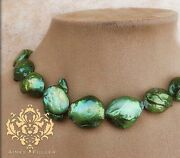 Emerald Green Christmas Tree Color Big Coin Pearl Statement Necklace Lg Jewelry