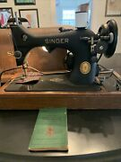 Singer Sewing Machine 128 Bentwood Case From 1952 Electric Black Side Crinkle