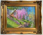 Mosley Vintage Original Painting Hilly Suburban Neighborhood House Lilacs Mail